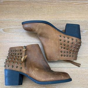 Aldo Brown Distressed Studded Back Bootie -6.5
